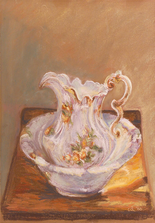 Antique Painting - Antique Pitcher And Bowl by Chrissey Dittus