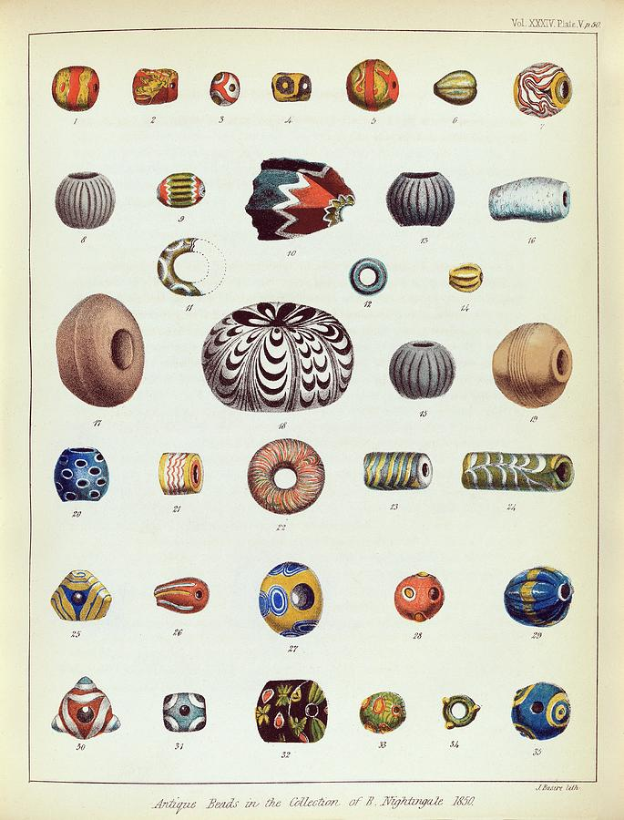 Bead Photograph - Antique Beads by Middle Temple Library