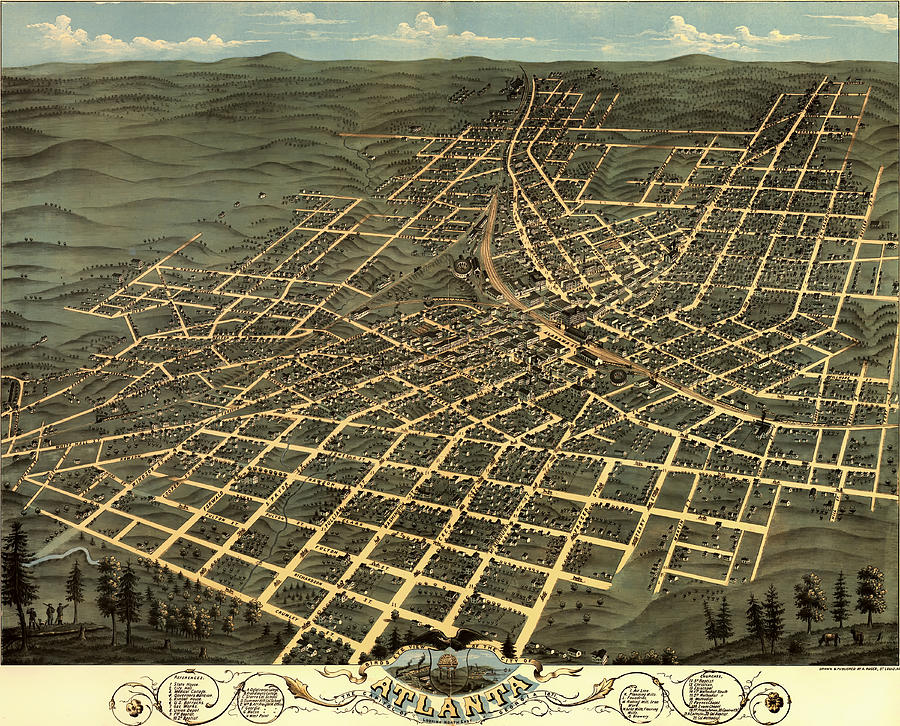 Map Drawing - Antique Birds-eye View Map Of Atlanta 1871 by Mountain Dreams