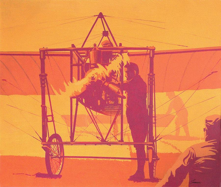 Vintage Painting - Antique Bleriot Airplane  by John Samsen