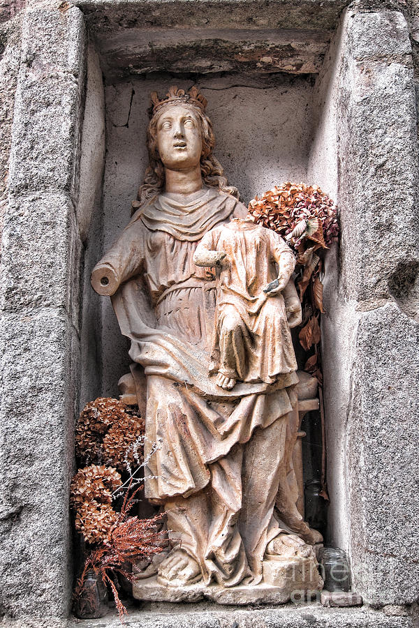 France Photograph - Antique Blessed Virgin Statue by Olivier Le Queinec