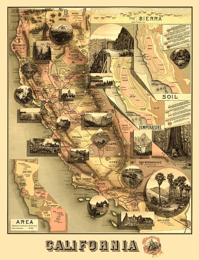 Antique California Map Digital Art - Antique California Map by Gary Grayson