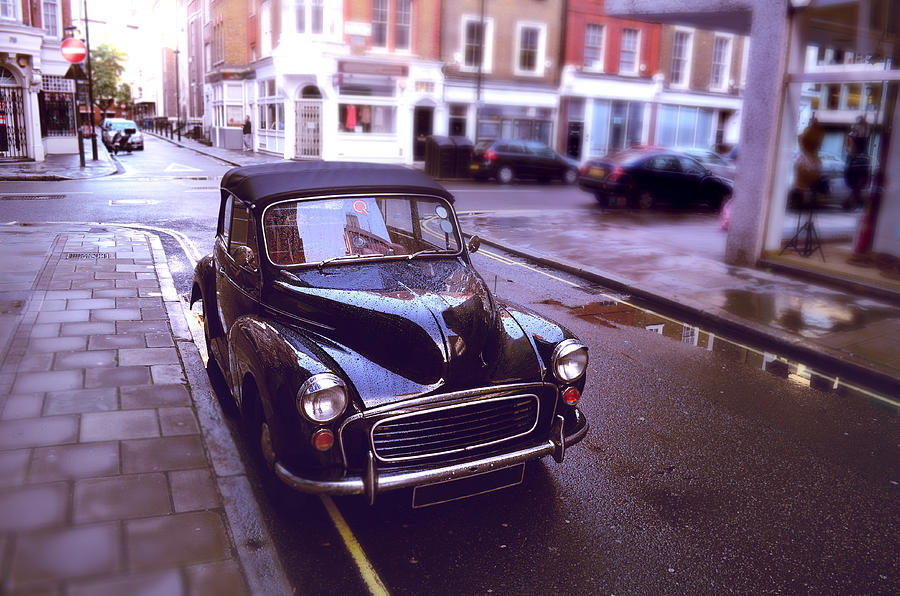 Antique Car Parked On Wet London Street Photograph by Jaminwell