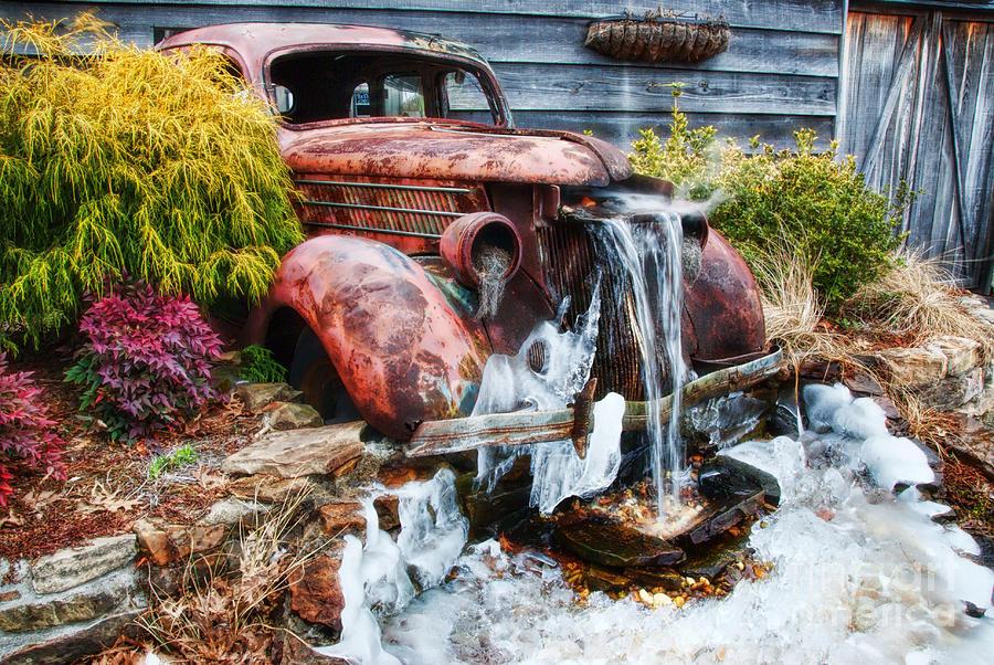 Antique Car Water Fountain Columbus Georgia Photograph By