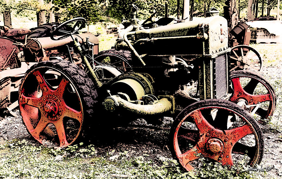 Antique Case Tractor Red Wheels by Michael Spano