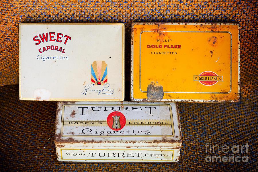 Old Photograph - Antique Cigarette Boxes by Les Palenik