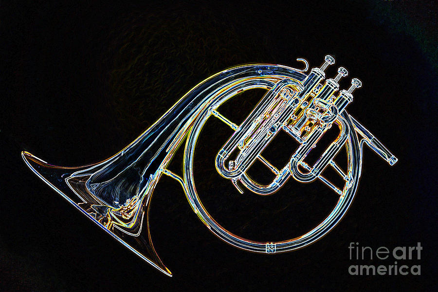 Antique Classic French Horn Dark Drawing 3022 04 by M K Miller