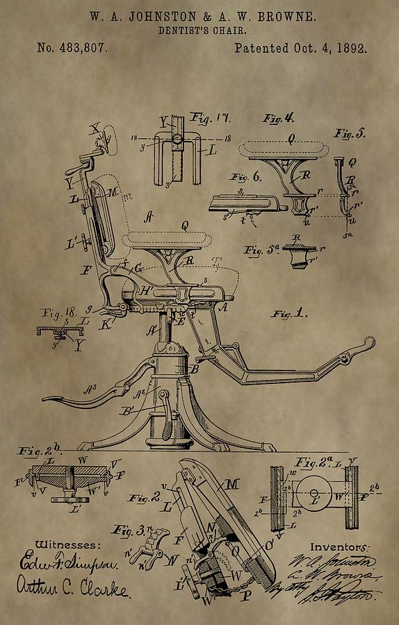 Dental Chair Mixed Media - Antique Dental Chair Patent by Dan Sproul