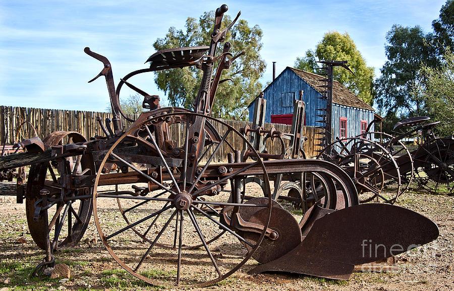 Equipment Photograph - Antique Farm Equipment End Of Row by Lee Craig
