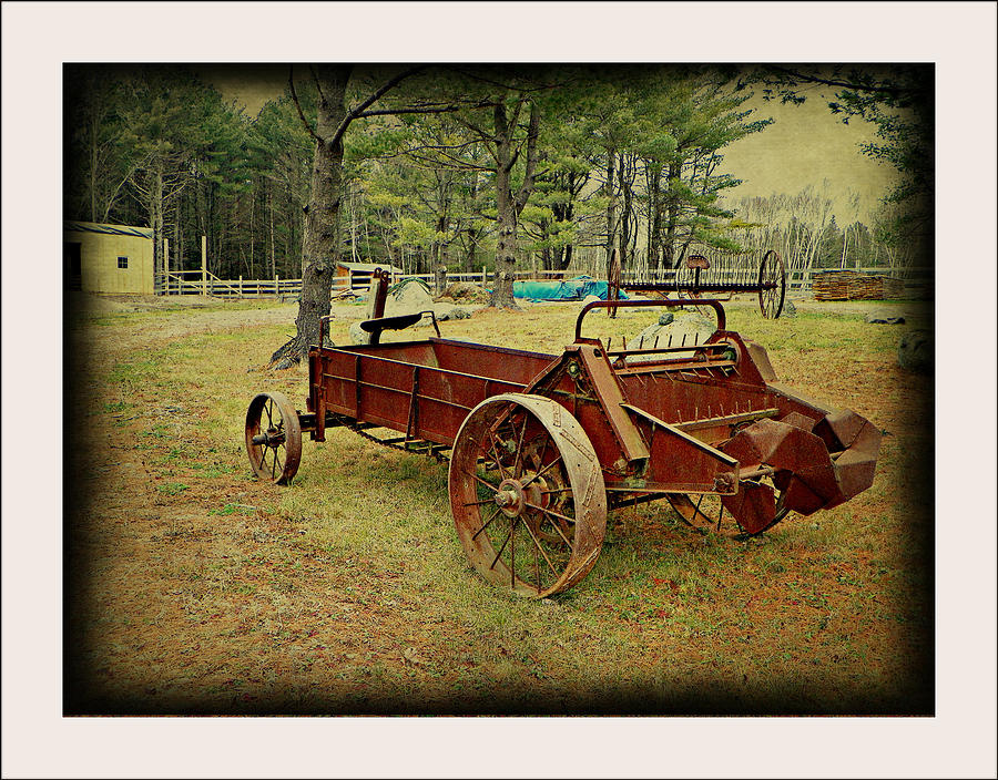 Antique Old Vintage Wagon Farm Country Field Equipment Photograph - Antique Farm Wagon by Dianne  Lacourciere