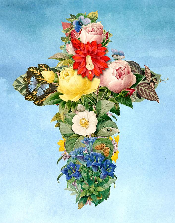 Digital Digital Art - Antique Flower Cross by Gary Grayson