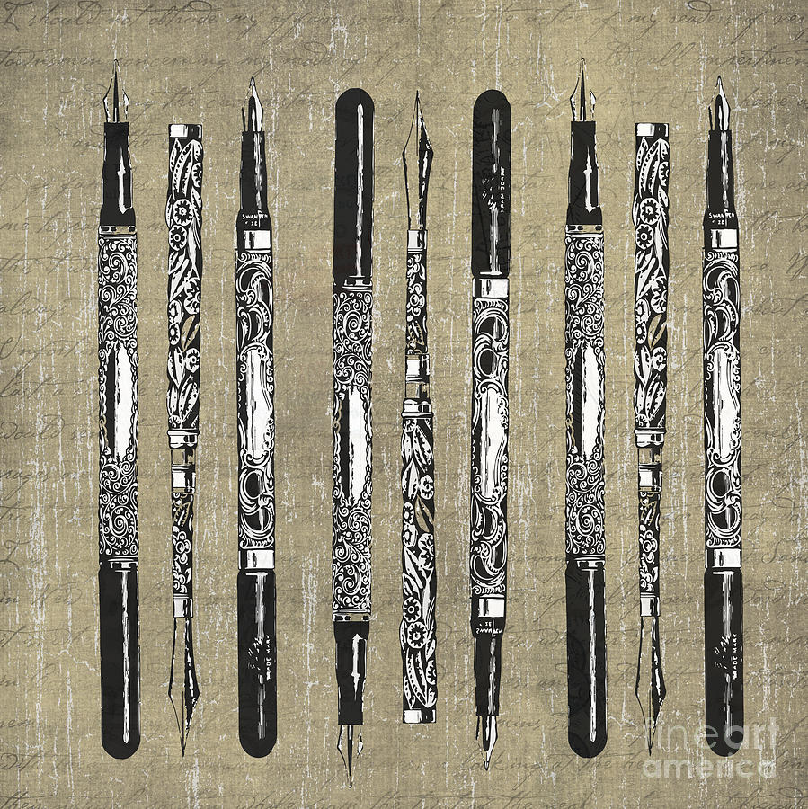 France Photograph - Antique French Paris Fountain Pens by Edward Fielding