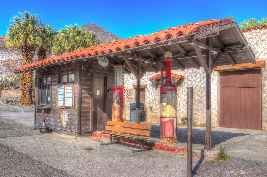 Antique Photograph - Antique Gas Station by Heidi Smith