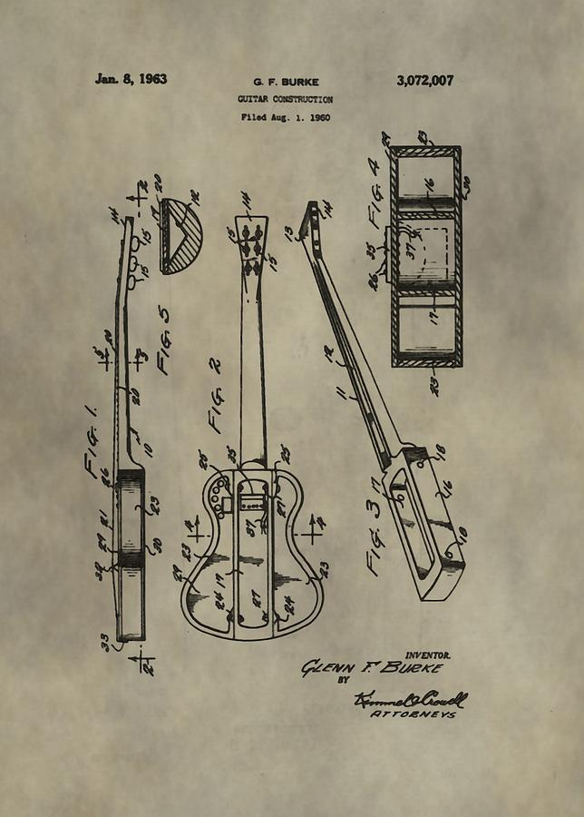 Guitar Patent Digital Art - Antique Guitar Patent by Dan Sproul