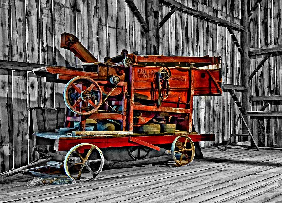 Monochrome Photograph - Antique Hay Baler Selective Color by Steve Harrington