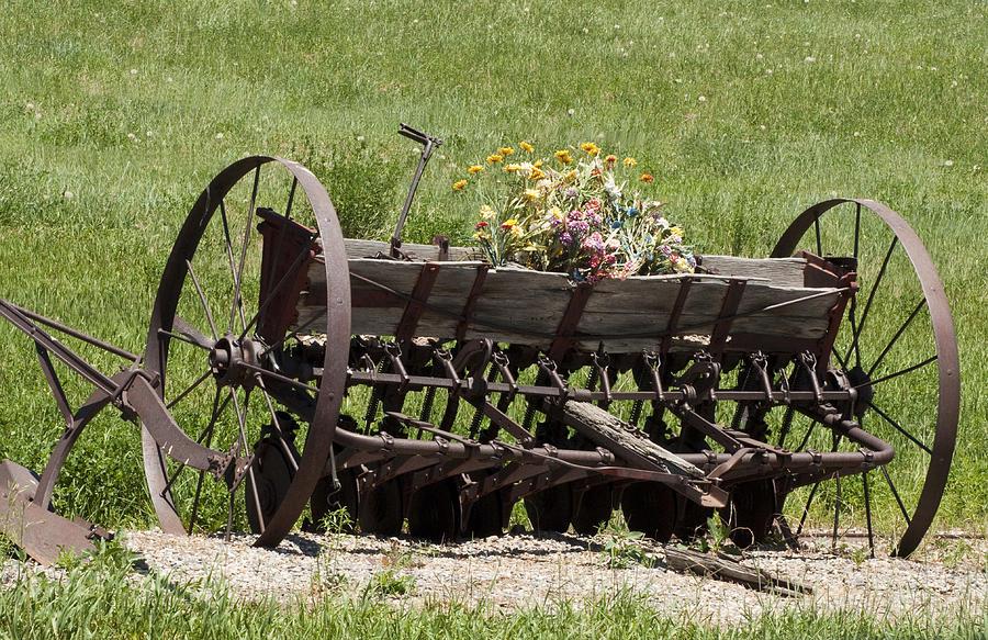 Old Farm Equipment Photograph - Antique Horse Drawn Seeder by Daniel Hebard