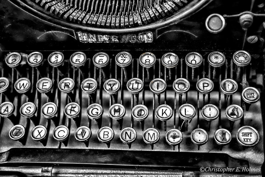 Christopher Holmes Photography Photograph - Antique Keyboard - Bw by Christopher Holmes