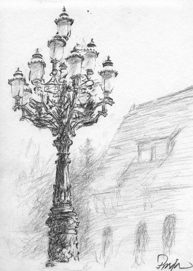 Charcoal Drawing - Antique Lampost by Horacio Prada