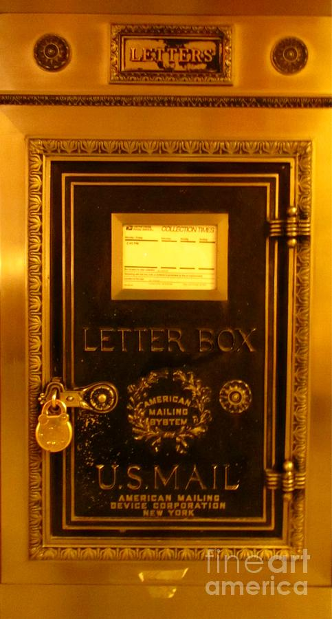 Antique Letter Boxes Photograph - Antique Letter Box At The Brown Palace Hotel by John Malone