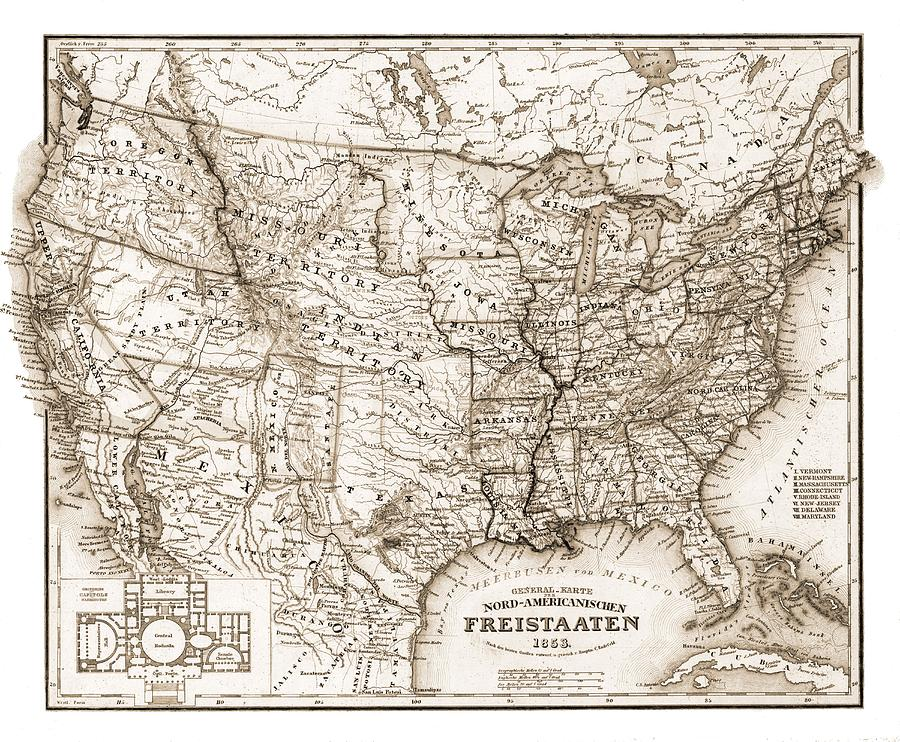 Map Photograph - Antique Map 1853 United States Of America by Dan Sproul