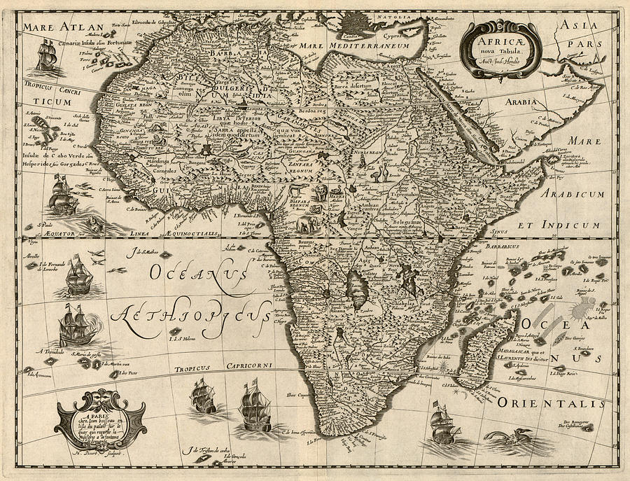 Antique Map Of Africa By Jodocus Hondius - Circa 1640 Drawing by ...