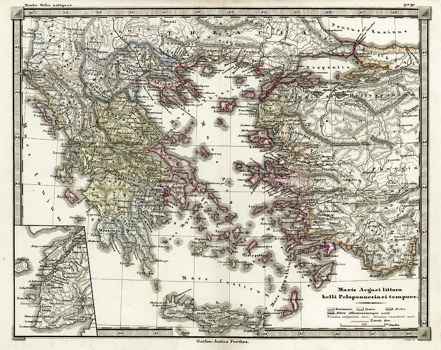 Antique Map Of Ancient Greece Digital Art by Duncan1890