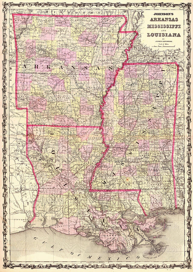 Antique Map Of Arkansas Mississippi And Louisiana Drawing by