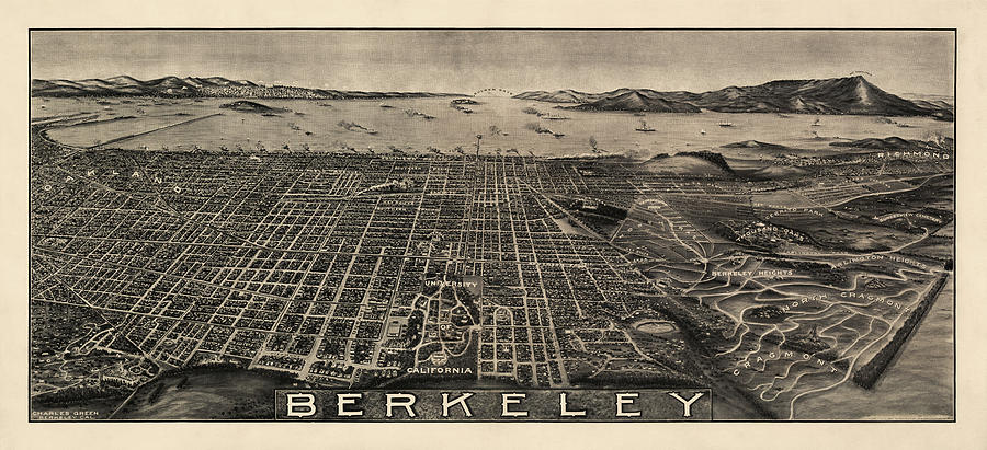 Berkeley Drawing - Antique Map Of Berkeley California By Charles Green - Circa 1909 by Blue Monocle