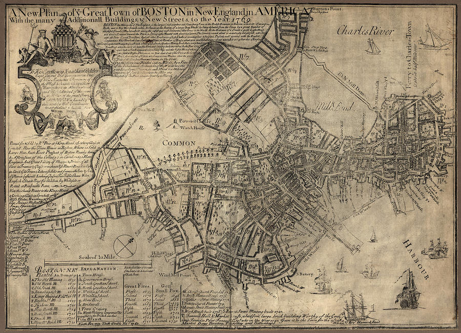 Boston Drawing - Antique Map Of Boston By William Price - 1769 by Blue Monocle