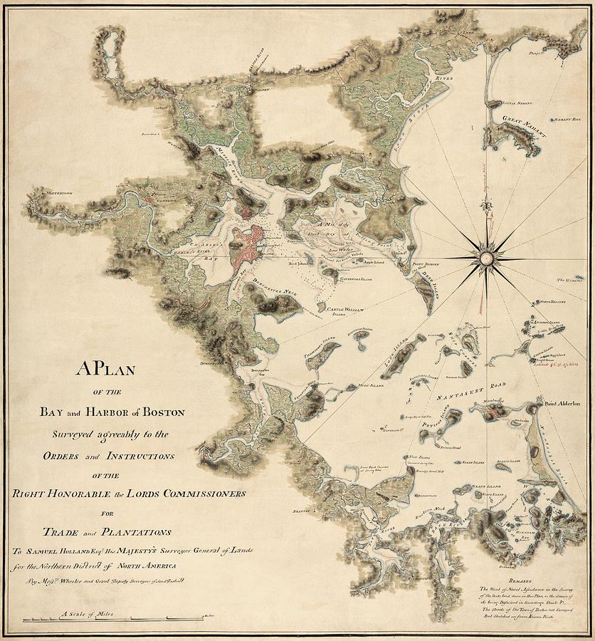 Antique Map Of Boston Harbor By Thomas Wheeler Circa Drawing - Antique boston map