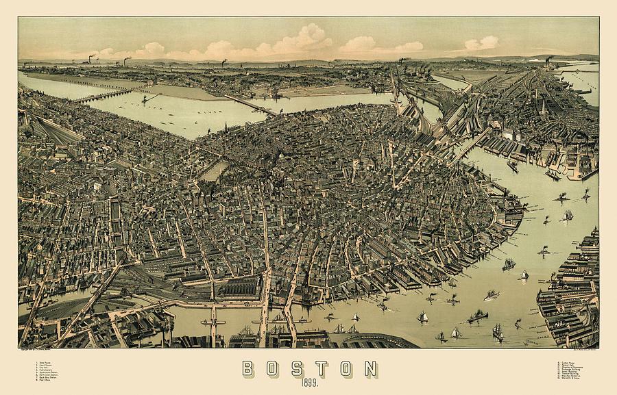 Antique Map Of Boston Massachusetts By Ae Downs Circa - Antique boston map