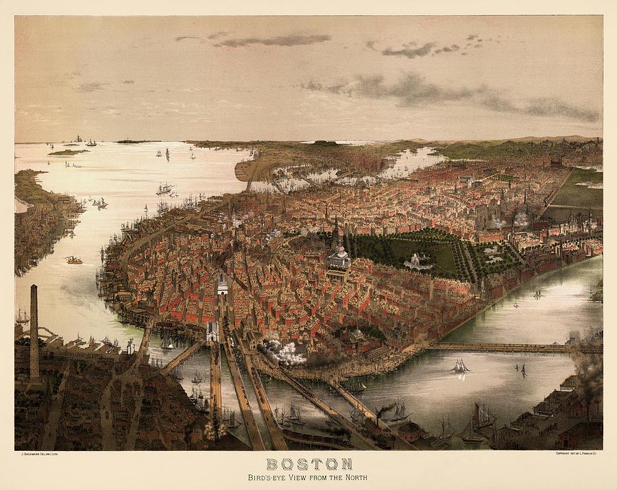 Antique Map Of Boston Massachusetts By John Bachmann