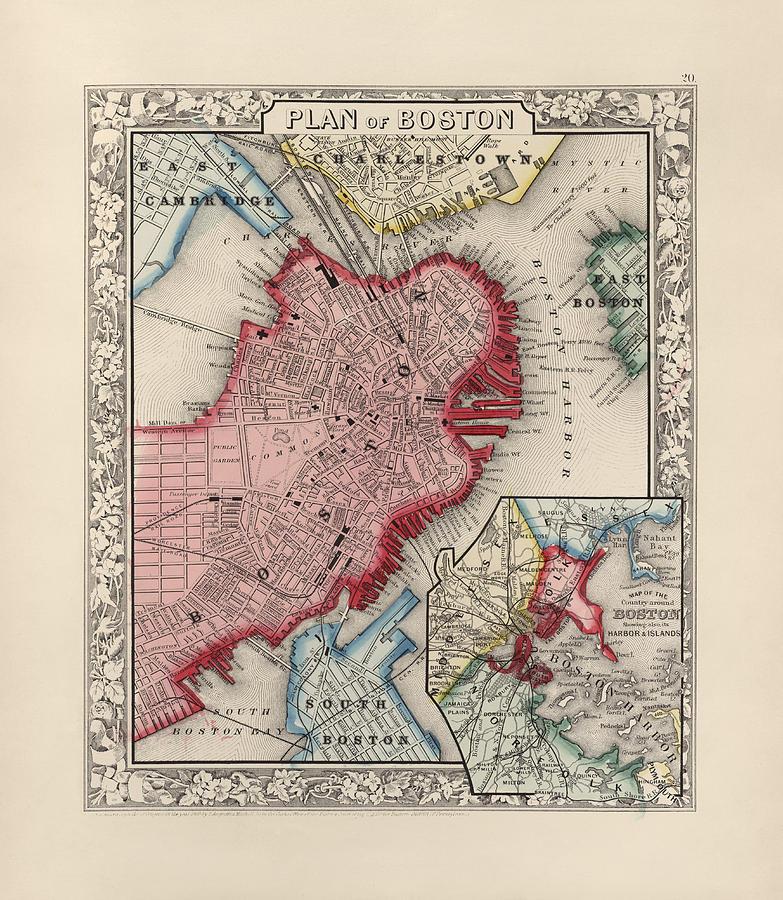 Antique Map Of Boston Massachusetts By Samuel Augustus Mitchell - Antique boston map