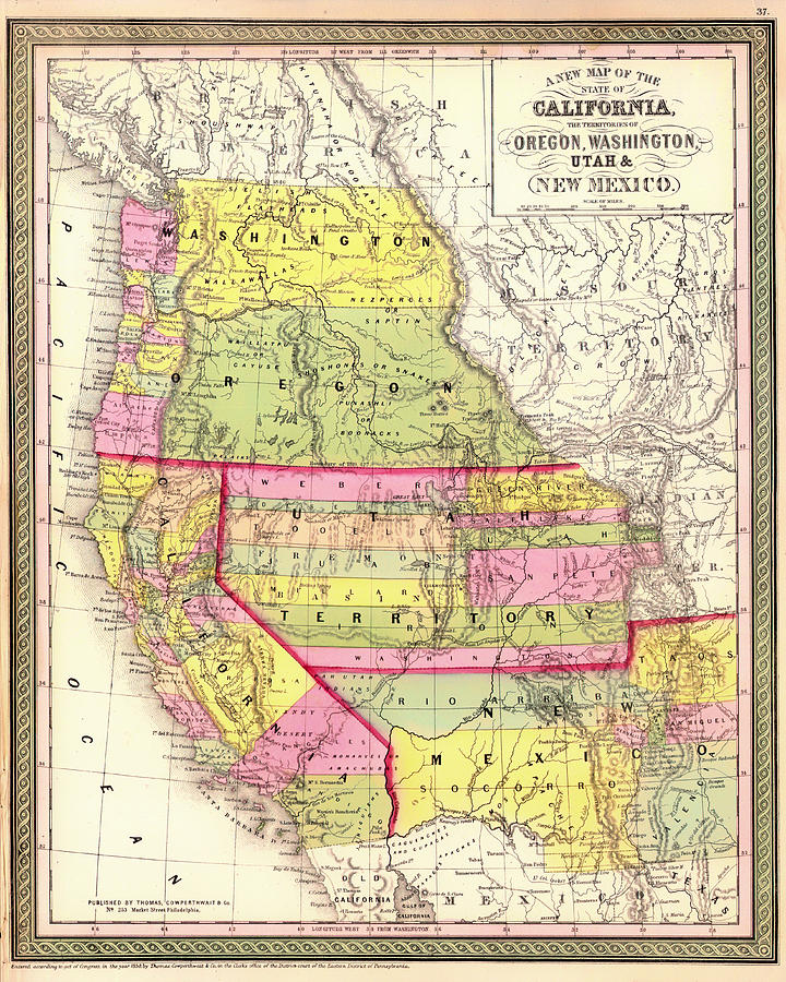 Antique Map Of California And The Territories Of Oregon Washington