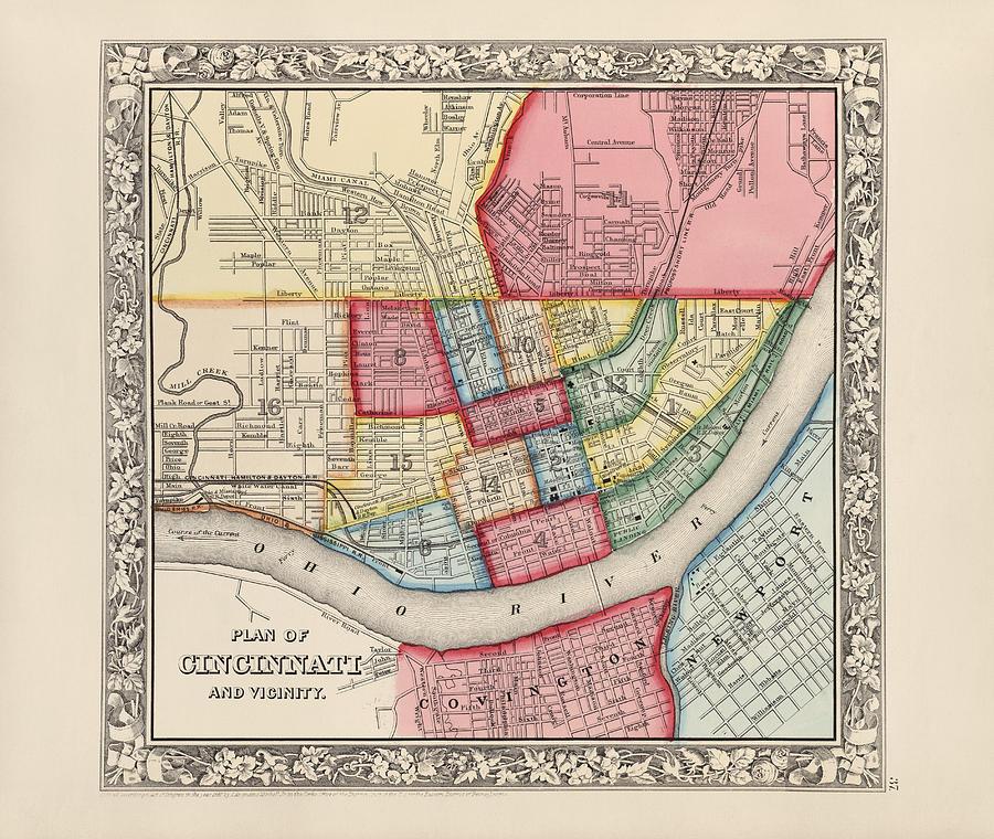 Antique Ohio Map.Antique Map Of Cincinnati Ohio By Samuel Augustus Mitchell 1863