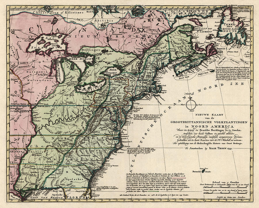 Antique Map Of Colonial America By Isaak Tirion 1755 Drawing By