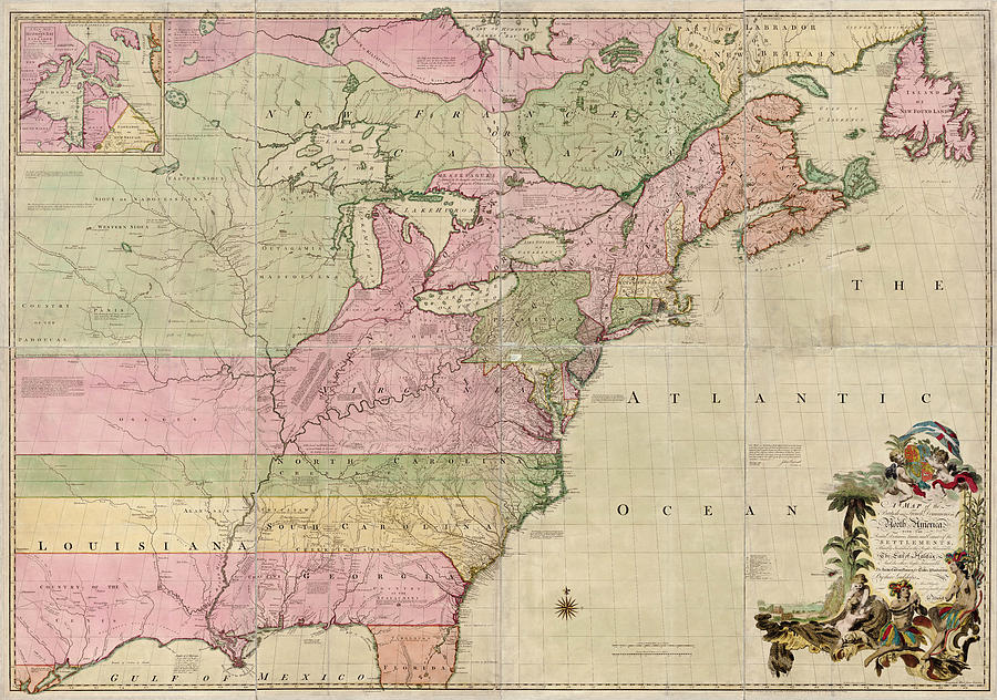 Antique Map Of Colonial America By John Mitchell 1755 Drawing By
