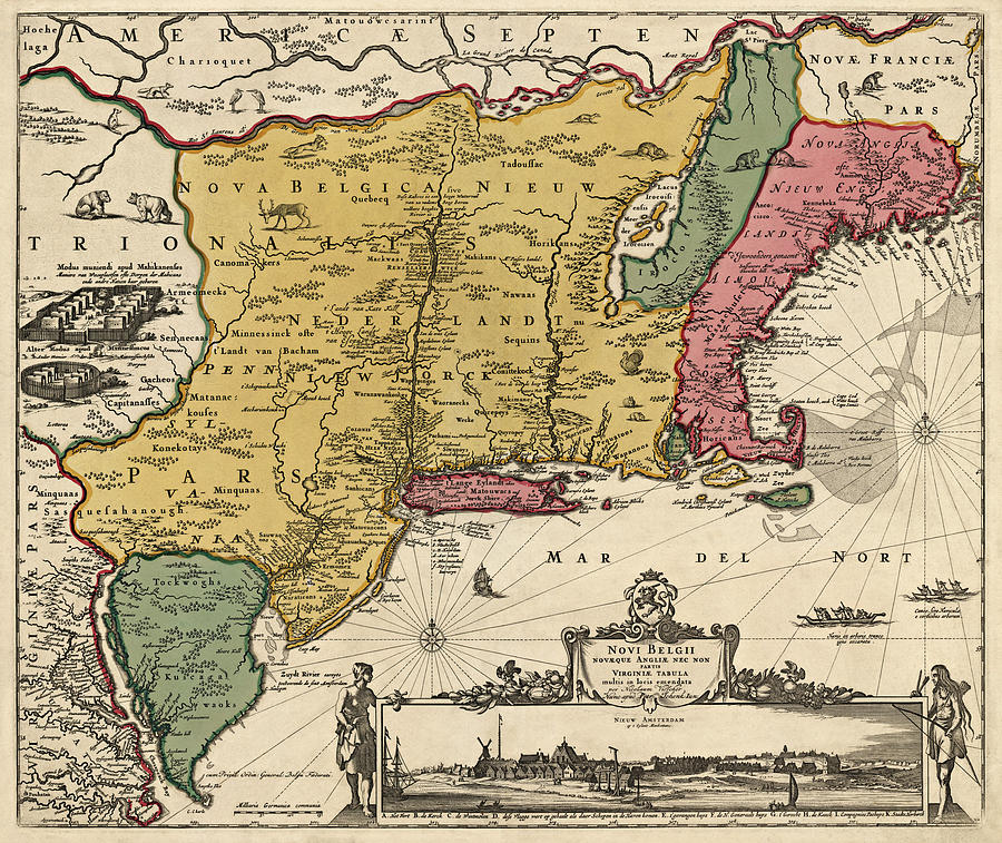 New England Drawing - Antique Map Of Colonial America By Nicolaes Visscher - 1685 by Blue Monocle