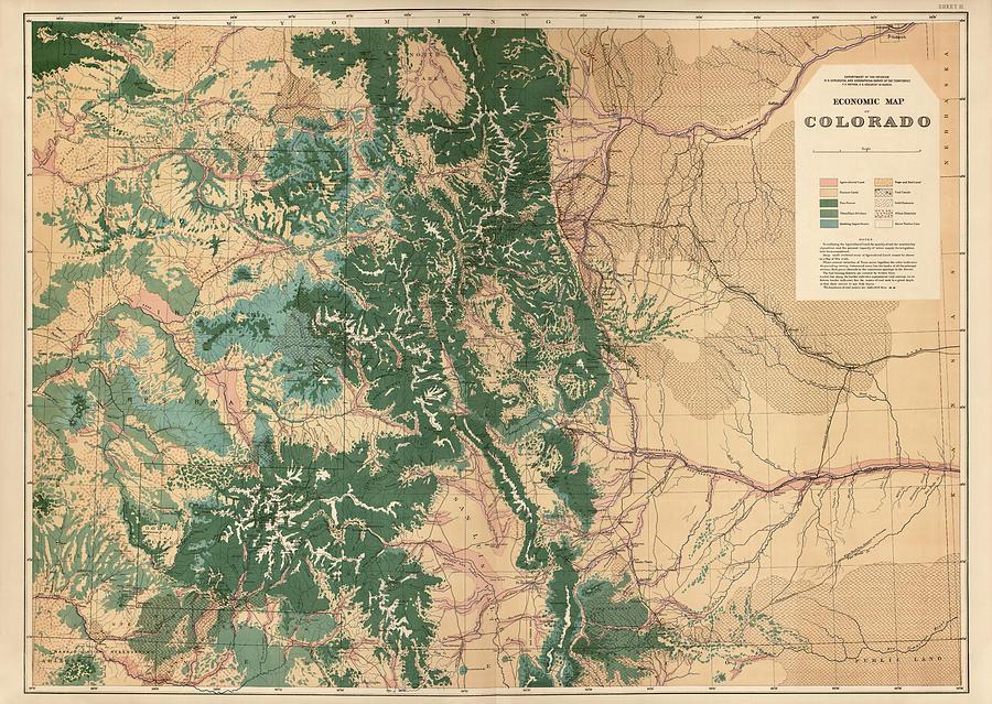 Colorado Drawing - Antique Map Of Colorado - 1877 by Blue Monocle