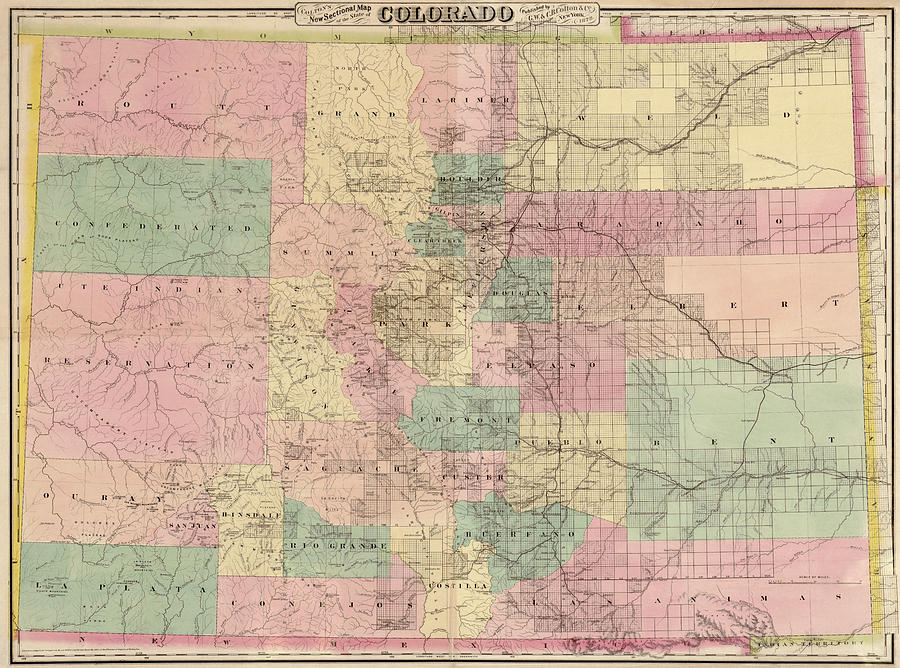 Colorado Drawing - Antique Map Of Colorado By G.w. And C.b. Colton And Co. - 1878 by Blue Monocle