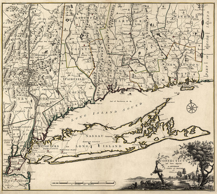 Antique map of connecticut by covens and mortier 1780 drawing by connecticut drawing antique map of connecticut by covens and mortier 1780 by blue monocle gumiabroncs Gallery