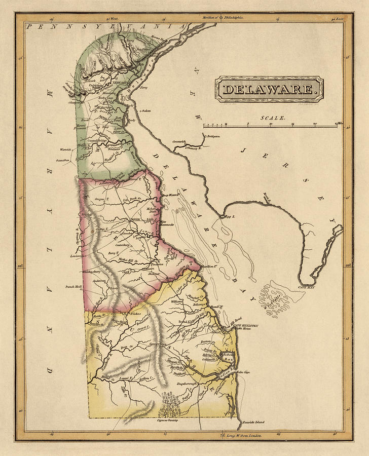 Delaware Drawing - Antique Map Of Delaware By Fielding Lucas - Circa 1817 by Blue Monocle
