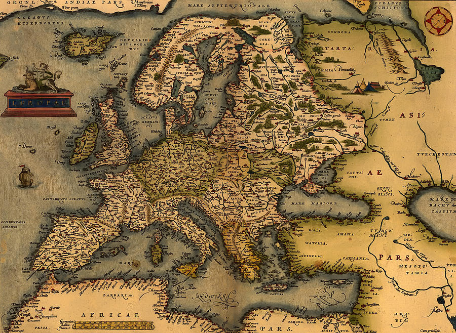 Antique Map Of Europe 1572 Drawing by Mountain Dreams