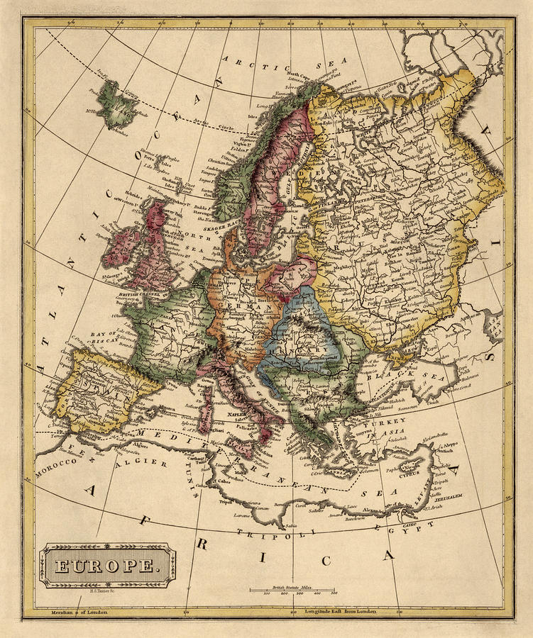Europe Drawing - Antique Map Of Europe By Fielding Lucas - Circa 1817 by Blue Monocle