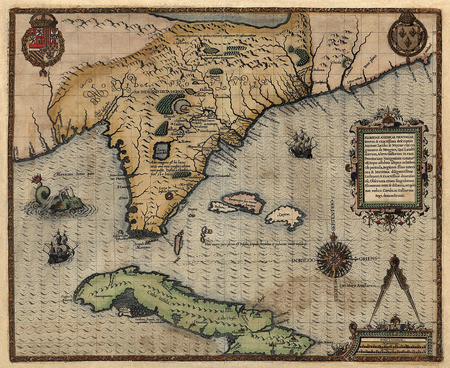 Antique Map Of Florida.Antique Map Of Florida And The Southeast By Jacques Le Moyne De