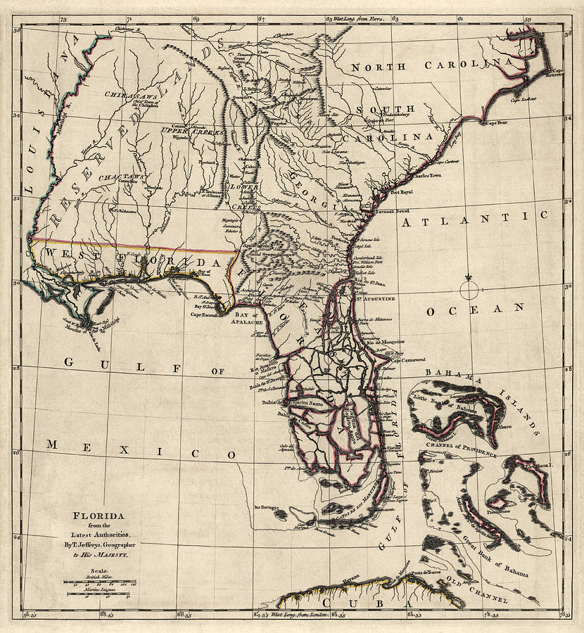 Antique Map Of Florida.Antique Map Of Florida And The Southeast By Thomas Jefferys 1768