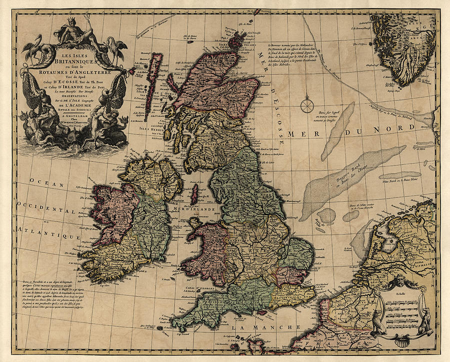 Antique Map Of Great Britain And Ireland By Guillaume ...
