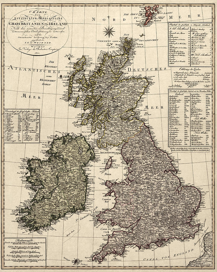 Antique Map Of Great Britain And Ireland By I. G. A ...