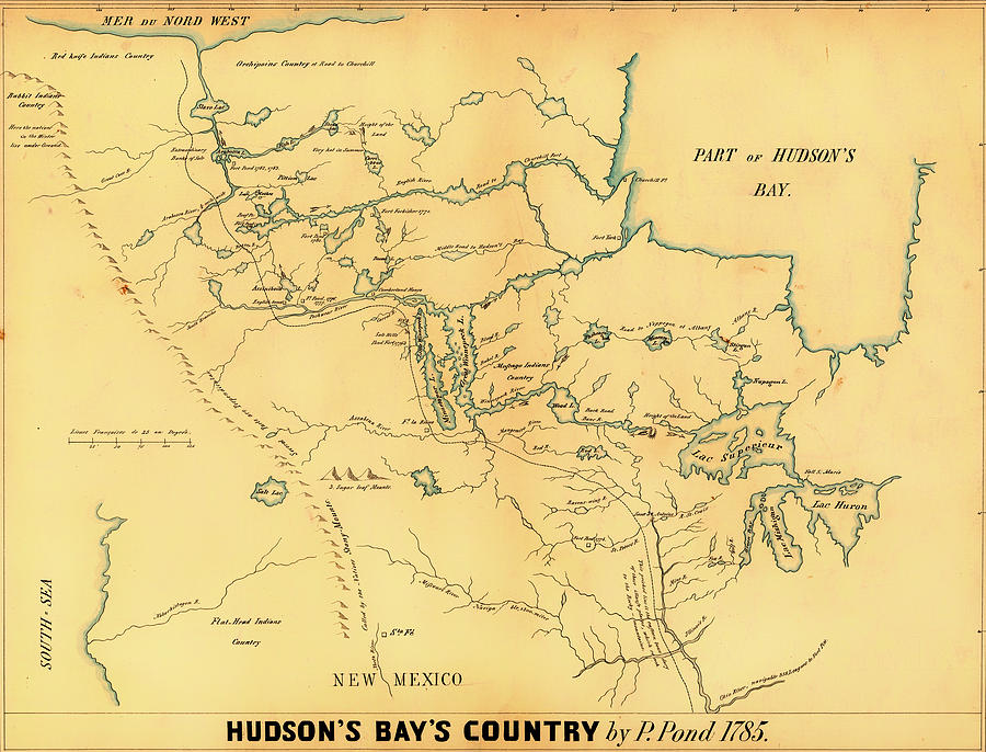 Antique Map Of Hudson Bay Country 1785 Drawing by Mountain Dreams