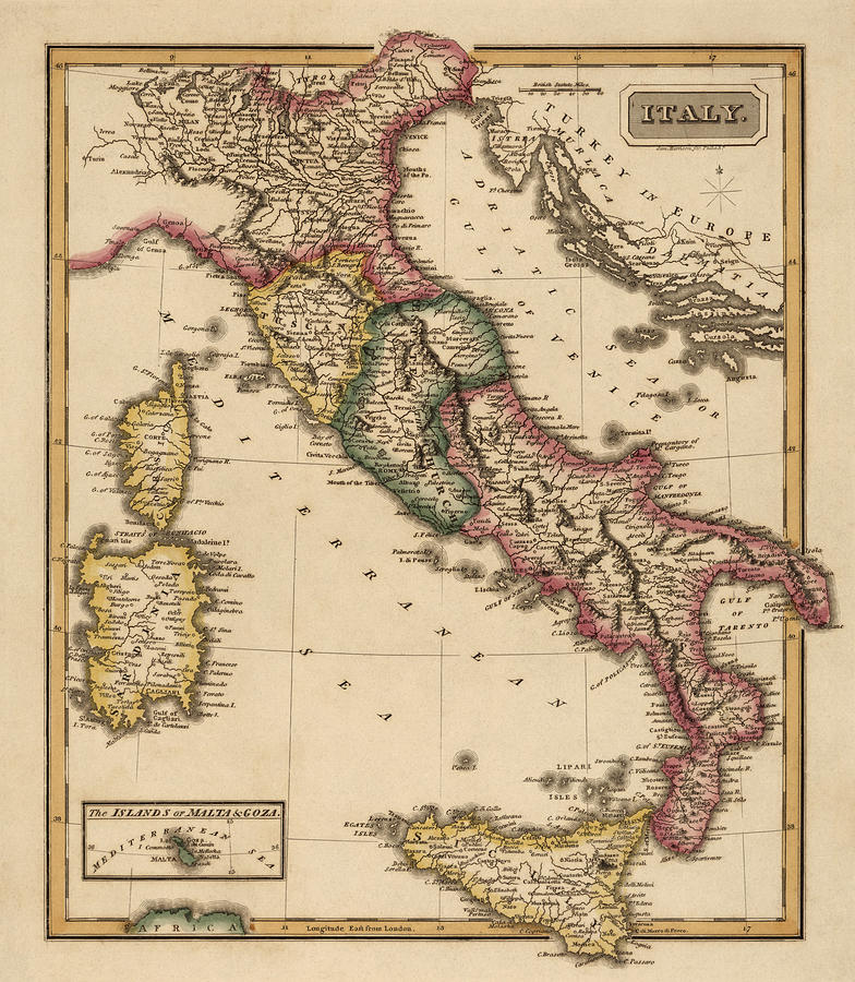 Antique Map Of Italy By Fielding Lucas Circa 1817